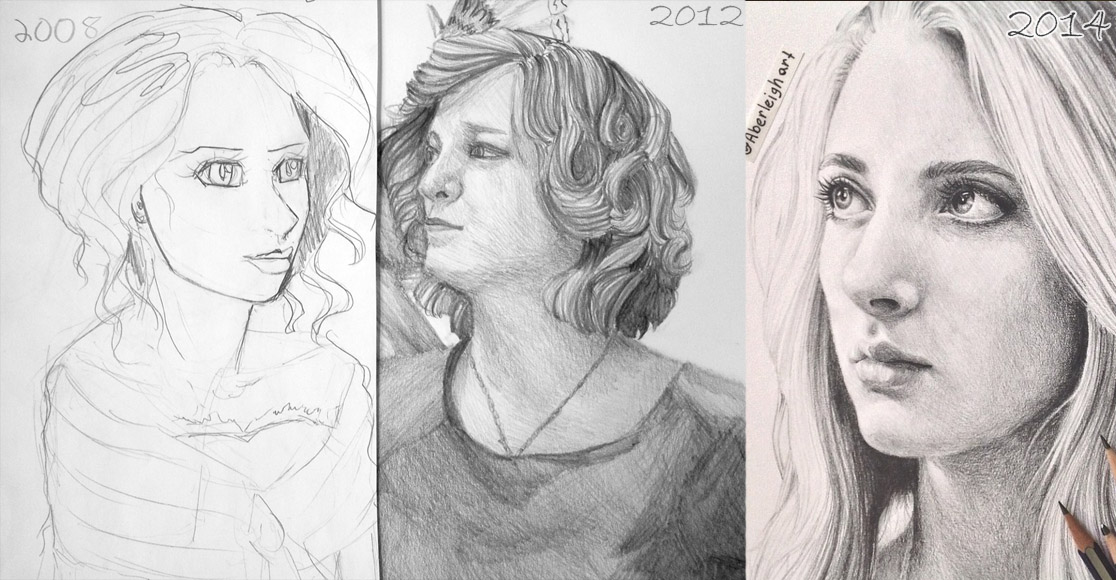 A comparison of my art over the years. Redoing old art can be a great way to bash Artist's Block.