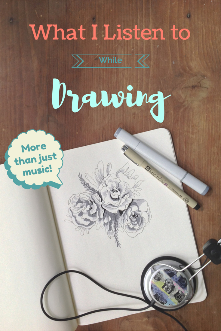 What I Listen to While Drawing. Do you ever struggle to find things to listen to while drawing? Here are a few of my personal favorite podcasts, audiobooks, and music that are great to listen to while drawing.